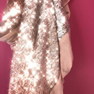 CLAIRE'S Metallic Scarf with Rose Pink Lace